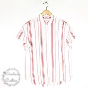 Madewell Central Ruffle Sleeve Striped Shirt